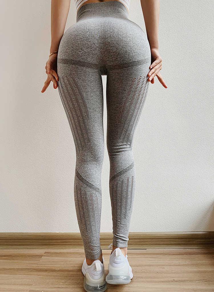 2020 kadınlar seksi dikişsiz tayt Yoga pantolon şınav Mesh yüksek bel Yoga pantolon köpekbalığı spor şeftali kalça koşu koşu pantolon