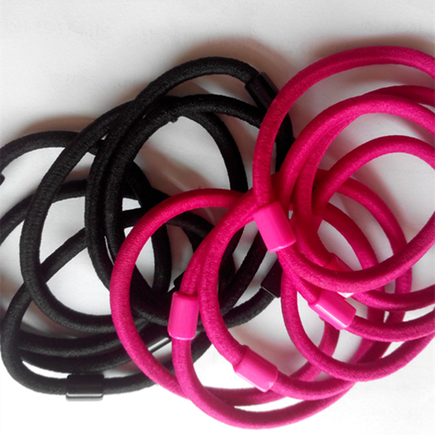 Free shipping Black and Hot pink Elastic hair ponytail Pasted Pad DIY accessories 40pcs