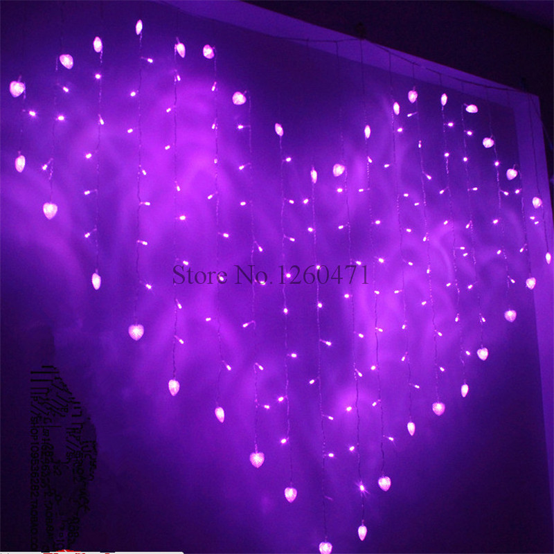 2016 Good Quality 2M X 1.5m Heart Shape 124 Hearts LED String Holiday Light Christmas Wedding Decoration Curtain Lights