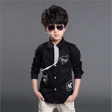 2016 New Arrival Boys Casual Blouse Long Sleeve Boys Shirt With Necktie Children England Style Blouse Free Shipping