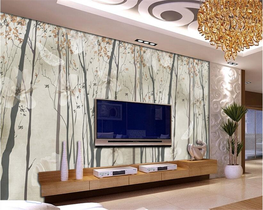 Beibehang Living Room Background Decoration 3D Wallpaper Nostalgic Abstract Woods White Flowers Butterfly TV Wall 3d Wallpaper