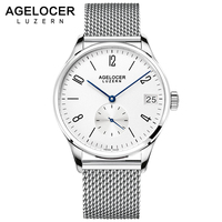 Swiszerland AGELOCER Brand Simplicity Automatic Men Watch Mesh France Leather Band Wrist Watch bracelet Clock man Montre Homme