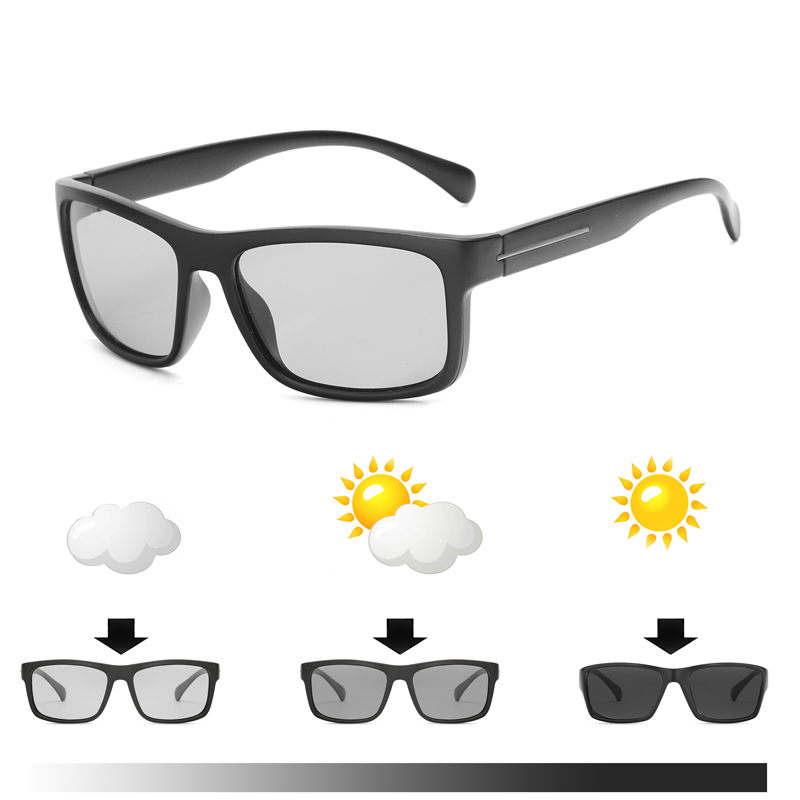 2018 new Men Driving Photochromic sunglasses Men Polarized Chameleon Discoloration Sun glasses square sunglasses