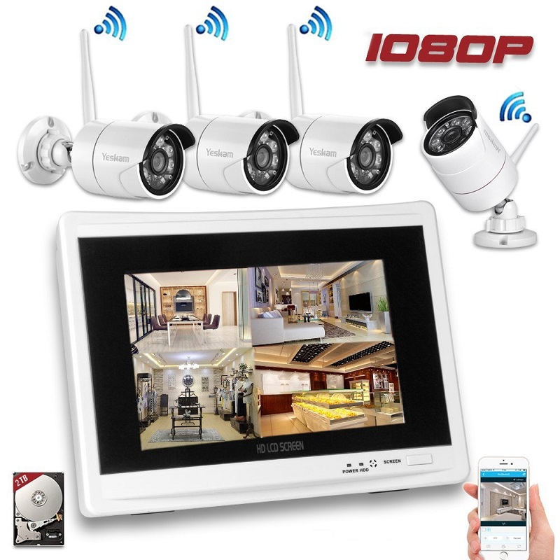 Yeskamo wireless security camera system cctv kit with four 1080P wifi camera and one 11.7 LCD Monitor Built in 2TB Hard Drive digital wireless security kit four channel available monitoring