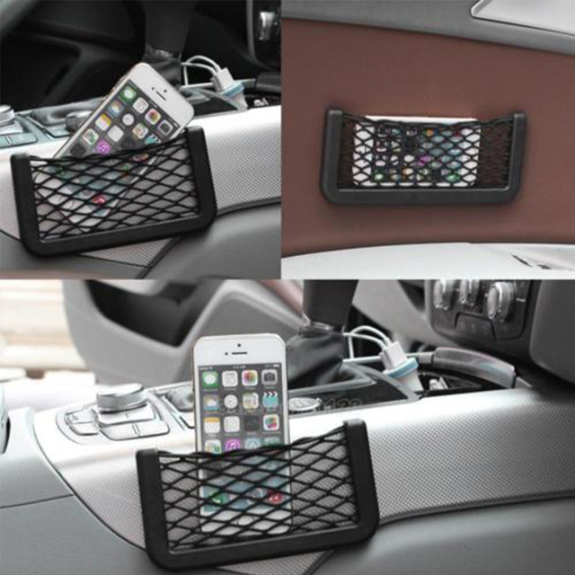 Universal Car Seat Side Back Storage Elastic Mesh Net Bag Phone Holder Pocket Organizer