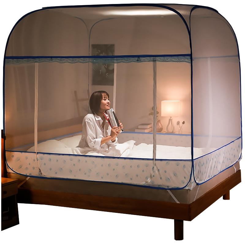 Moustiquaire de yourte à trois portes 1.2 m lit universel auvent filet Simple rideau de lit pour filles décor de chambre facile à installer filet de maille