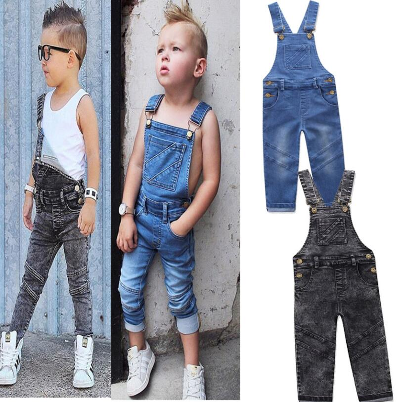 Boys Jeans Overalls Long-Trousers Baby-Boy Kids Denim Children's Blue Autumn for Big