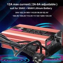 120V 84V 96V 102.2V 117.6V 100.8V eBike Lipo Li ion Lifepo4 lityum pil şarj cihazı hızlı 2A 5A 9A ayarlanabilir şarj 24S 28S 32S
