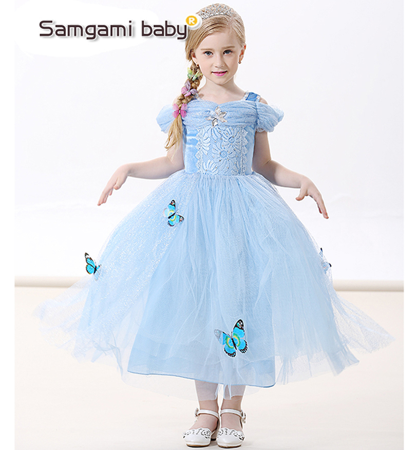 Buy Cheap 2017 new Cinderella Girl Elsa & Anna costume princess sequined cartoon costume Free shipping butterfly girls dress kids party