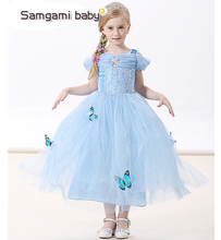 2017 new Cinderella Girl Elsa & Anna costume princess sequined cartoon costume Free shipping butterfly girls dress kids party