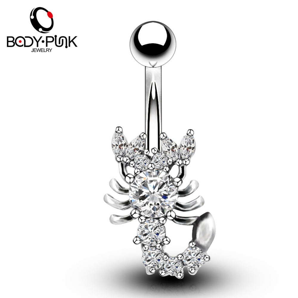 BODY PUNK Trendy Steel Clear CZ Scorpion Curve Sex Belly Button Ring Female Fake Piercing Ombligo/Nombril Navel Piercing Jewelry