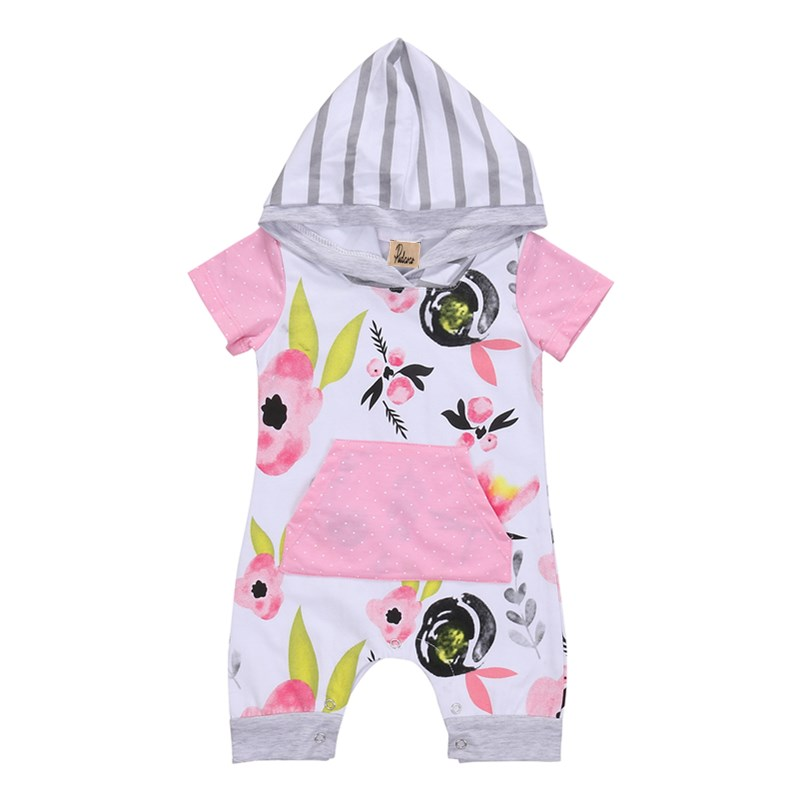 Floral Newborn Toddler Baby Girl Striped Hooded Cotton Short Sleeve Long Romper Kids Infant Jumpsuit Playsuit Clothes Outfits