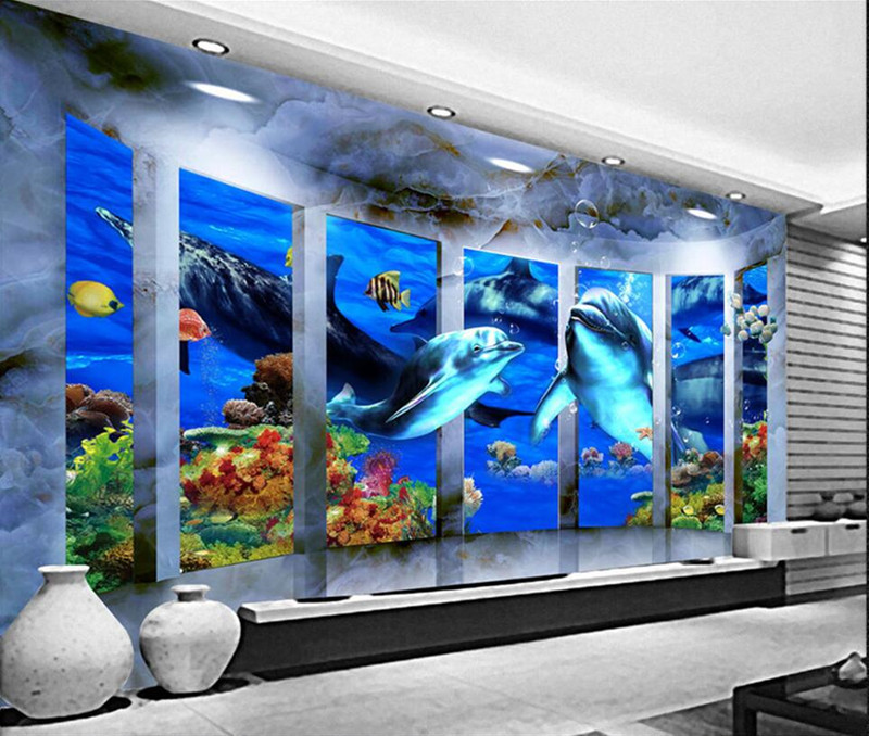 Custom Any Size 3D Stereo Photo Wallpaper Mural 3d Space Ocean Whales for Kindergarten Living Room Bedroom Background Wall paper shinehome black white cartoon car frames photo wallpaper 3d for kids room roll livingroom background murals rolls wall paper