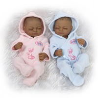 10 inch African American Baby Doll Black Girl Full Silicone Body Be Reborn Baby Dolls Ethnic Alive Dolls Christmas Gifts