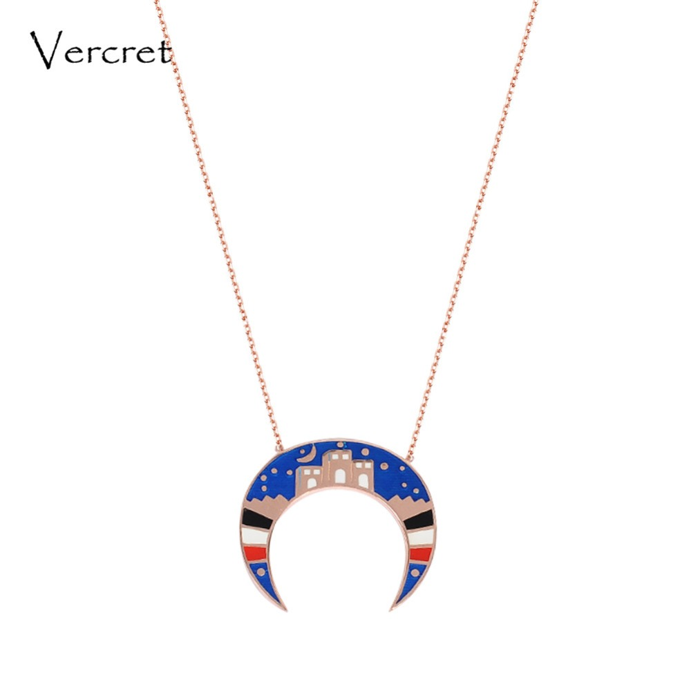 Vercret enamel crescent moon necklace rose gold genuine 925 silver starry moon pendent necklace