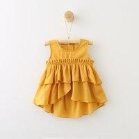 Summer Baby Girls White Blouses Kids Cotton Princess Ruffles Sleeveless Shirts Green Yellow Shirt Girl Cute