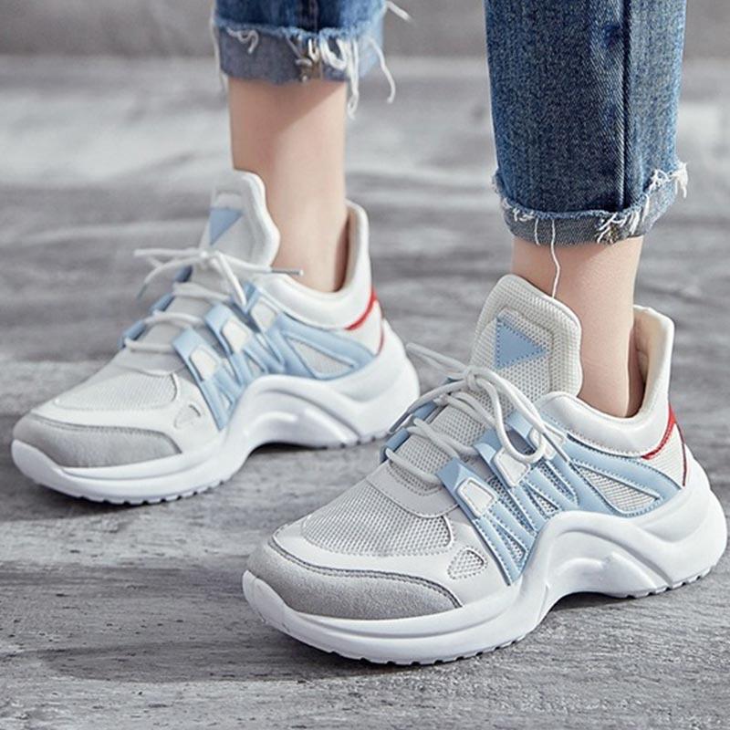 Women Fashion Sneakers Women Vulcanize Shoes Lace Up Air Mesh Platform White Sneakers Breathable Soft Walking Footwear