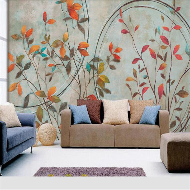 Retro Flowers Photo Wallpapers Murals Abstract Wall Papers Walls 3D Hand Painted Leaf Wallpapers for Living Room TV Background shinehome sunflower bloom retro wallpaper for 3d rooms walls wallpapers for 3 d living room home wall paper murals mural roll