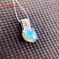 6x8mm Lovely petite Fire Natural Opal Oval pendant 925 sterling silver necklace