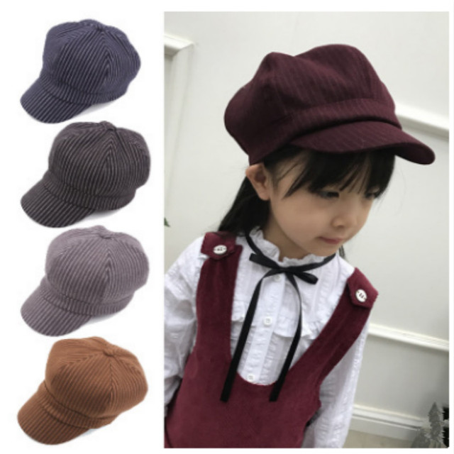 33cea098e65da Fashion Striped Newsboy Cap For Kids Boy Cotton Spring Autumn Children  Octagonal Cap Vintage Beret Hat Korean Style Newsboy Hats