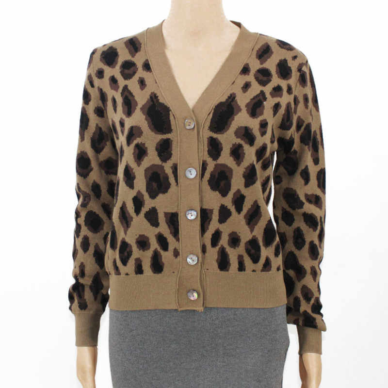 Retro Girls V neck Leopard Printed Pattern Knitted Cardigan Sweater Coat Long Sleeve Knit Jacket Single breasted Tops