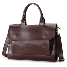 Crazy horse genuine leather men bag vintage loptap business