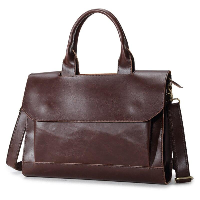 Crazy Horse Genuine Leather Men Bag Vintage Loptap Business Men's Leather Briefcase Men Messenger Bag Shoulder Bag Handbag 6920