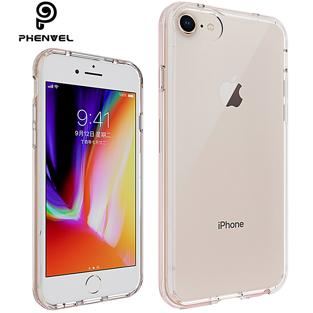 Phenvel crystal bumper case for iphone 7 iphone8 TPU + PC impact protection 8 iphone7 Transparent cover