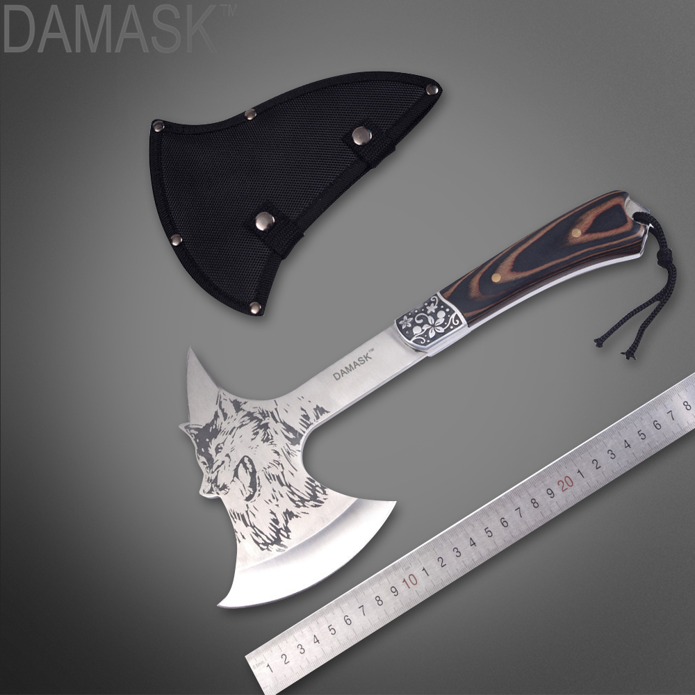 Damask Brand Fire Military Axe Tomahawk Outdoor Defensive Camping Field Tools Axe Hammer Detachment Wolf Head Steel Tomahawk surreal detachment