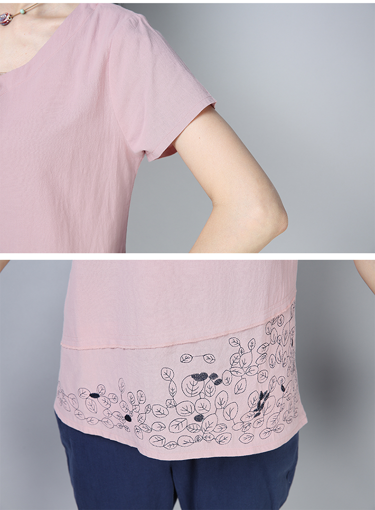 Cotton And Linen Short Sleeve Loose Women Blouses Plus Size Artistic Womens Clothing Print 3xl Casual Women Tops 12