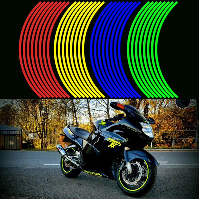 16 Pcs Strisce Moto Ruota Adesivo Riflettente Decalcomanie Rim Tape Bike Car Styling Per YAMAHA HONDA SUZUKI Harley BMW