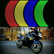 16 adet Şeritler motosiklet tekerleği Sticker Yansıtıcı Çıkartmaları Jant Bant Bisiklet Araba Styling Için YAMAHA HONDA SUZUKI Harley BMW