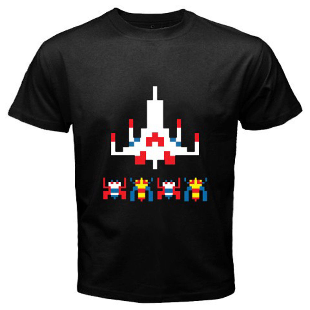 2017 fashion men s new galaga retro alien ship video game design t shirt cool summer tops
