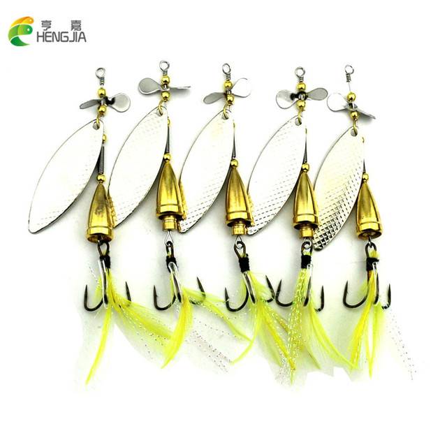 HENGJIA 5 pieces/lot 10cm 13g Silver Spinner Spoon Fishing lures Metal Fishing Tackle yellow Feather Hook