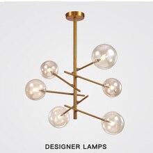 הפוסטמודרנית LED תליון אור קסם שעועית DesignerTree סלון מסעדת זכוכית כדור תליון מנורה