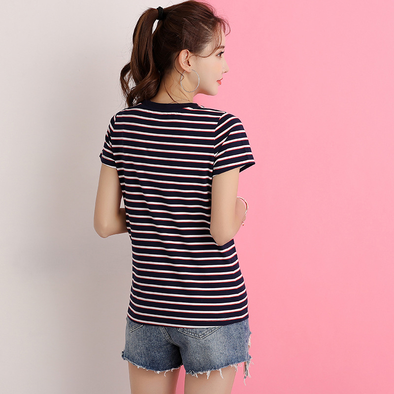 shintimes Striped T Shirt Female Basic V Neck T Shirt Women Clothes 2019 Cotton Blue Woman Summer Tops Casual White Tshirt Femme in T Shirts from Women 39 s Clothing
