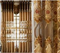 High end European velvet embroidered curtain air living room windows finished bedroom windows shading curtains