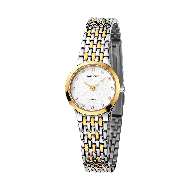 Mige 2017 Hot Sale Lvers Watch Gold Watchband White Ladies Watches Waterproof Female Clock Ultra Thin Saphire Women Wristwatches