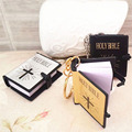 1Pc Mini Bible Keychain English HOLY BIBLE Religious Christian Jesus Gold Black White Colors Wholesale