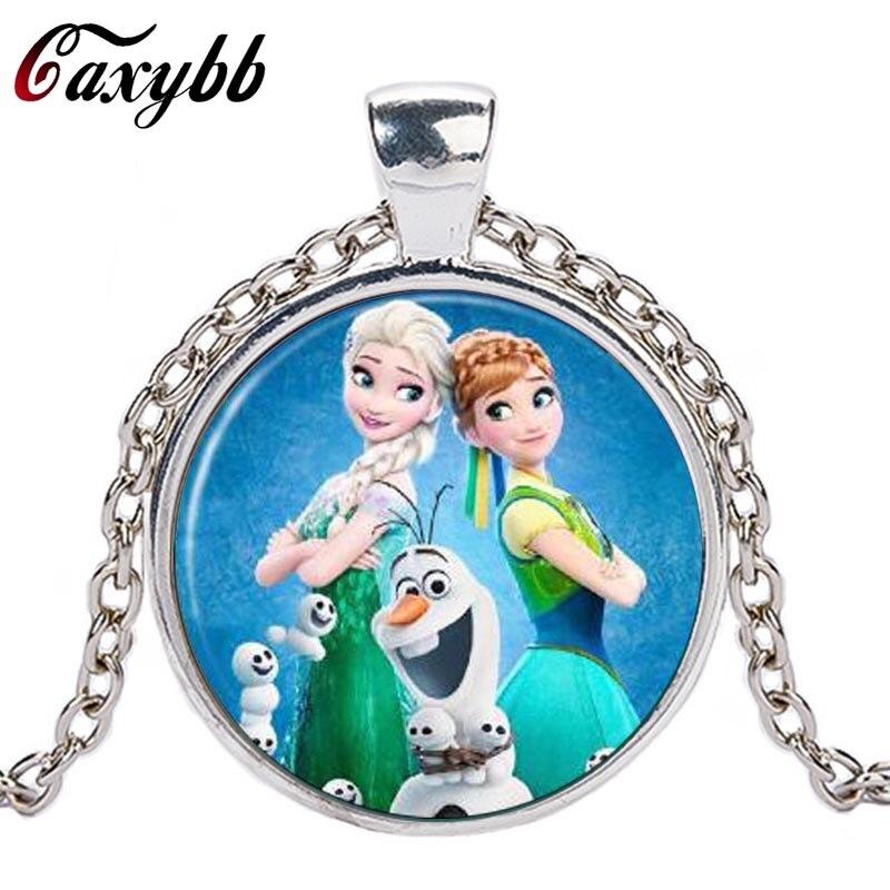 Caxybb Elsa Anna Olaf fever pendant cartoon necklaces girl s