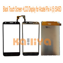 """For Alcatel One Touch Pixi 4(5) 5045 5045D 5.0"""" Black Touch Screen+LCD Display Touch Panel Digiziter Mobile Phone Replacement"""