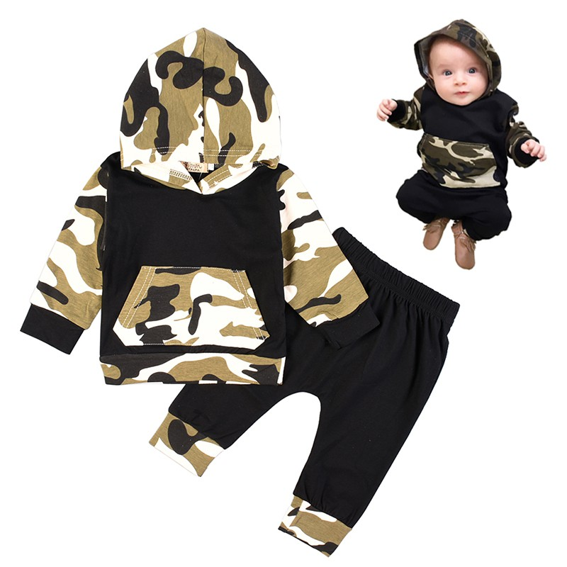 Spring Autumn Baby Clothing Sets Infant Boys Clothes Camouflage Hoodie Tops Long Pants 2Pcs Outfits Set Clothes 2pcs