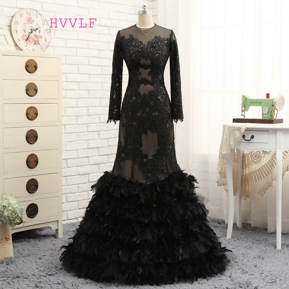 Black 2017 Prom Dresses Mermaid High Collar Long Sleeves Appliques Feather See Through Prom Gown Evening Dresses Evening Gown