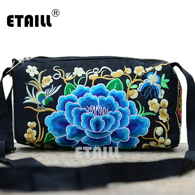 2016 Double Faced Hmong Embroidery Brand One Shoulder Bag Ladies Canvas Bags Flower Boho Indian Embroidered Women Messenger Bags