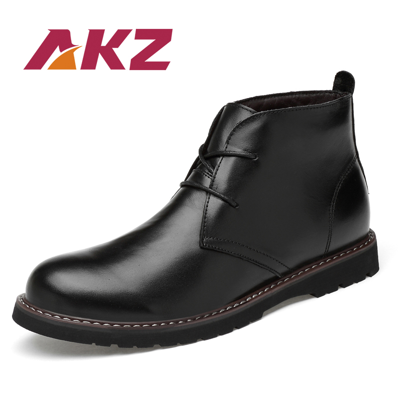 AKZ Autumn Winter Genuine Leather Men Ankle Boots High Quality vintage Male Work Boots Fur Warm Footwear Round toe Lace up 36-48 цена