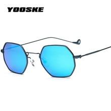 YOOSKE Polygon  Sunglasses Women Fashion Brand Vintage Steampunk Sun Glasses Clear Lens Lady Metal Small Frame Sunglass