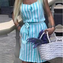 Women Stripe Shirt dress 2018 Summer New Square collar sleeveless belt  Elegant dresses Pink Blue Stripe Beach Party Dress