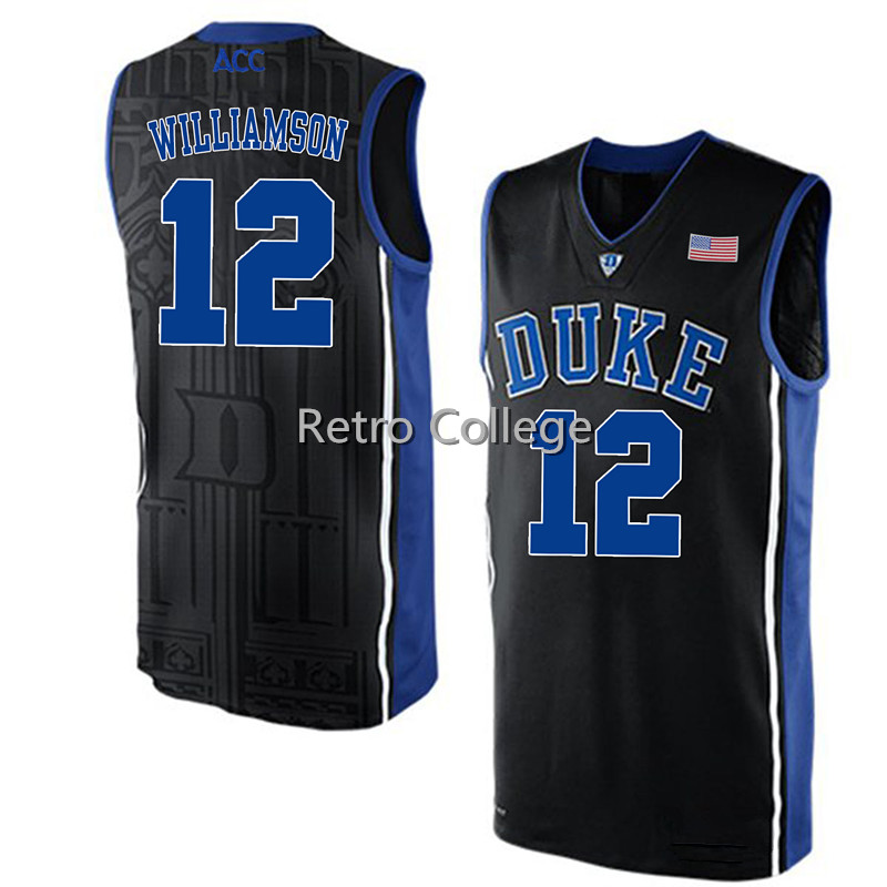 Duke Blue Devils #12 Zion Williamson Retro throwback stitched embroidery basketball jerseys Customize any number and name