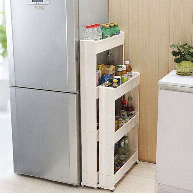 JETTING Slide Out Storage Tower Folding Tier Rolling Castor Kitchen Trolley  Spice Rack Random Color