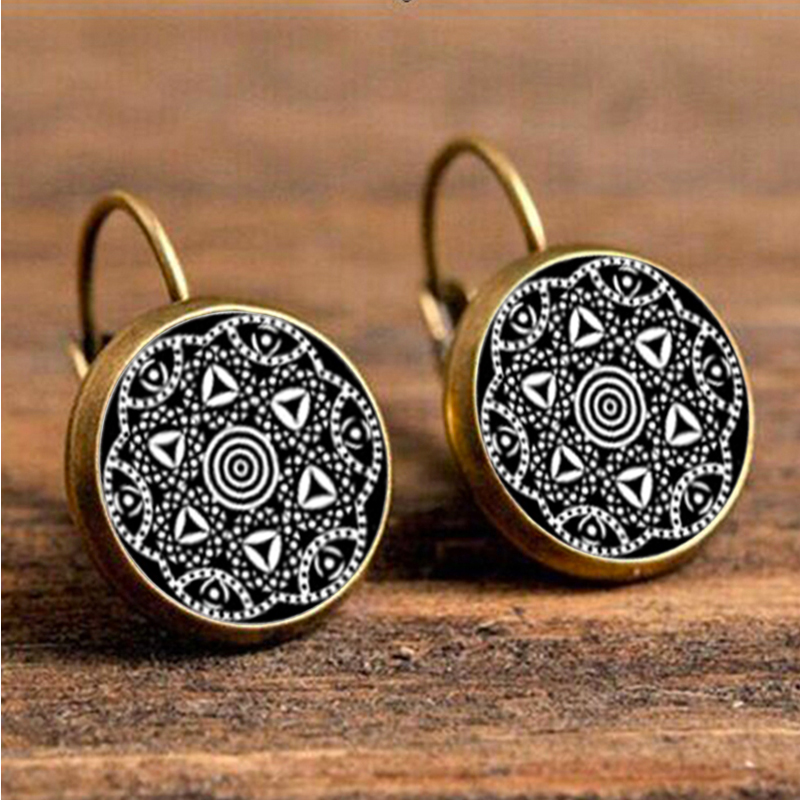 SUTEYI Mandala Earrings Glass Women Jewelry Zen Buddhism Fashion Henna Bijoux Symbol
